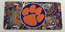 Clemson Tigers License Plate Metal Paisley Tag New
