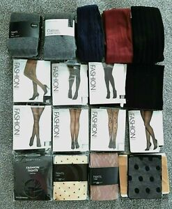 NEW LOOK FASHION BLACK or COLOUR TIGHTS Pick KNIT SHEER PRINT LACE MESH  S M L