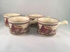 Watkins Almanac Set of 4 Soup Chili Mug Bowl Red Barn May 1906 Repro in 1986 New