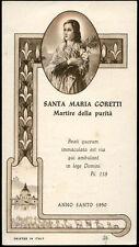 """santino-holy card""""S.MARIA GORETTI"""