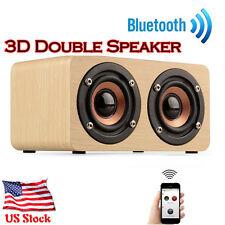 Holz TRAGBAR BLUETOOTH LAUTSPRECHER 3D Dual Lautsprecher drahtlos Surround USPS