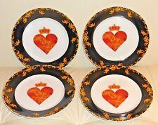 "VINTAGE CAROLA PABST RED HEART GERMAN 8"" SET OF 4 SALAD PLATES"