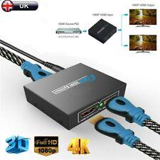 2 WAY 1x2 4K 1080P HUB 3D HDMI SPLITTER AMPLIFIER SWITCHER for HD TV PC PS3 DVD