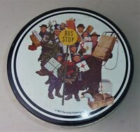 Vtg Norman Rockwell Saturday Evening Post Bus Stop Tin 1952 Curtis Publishing Co