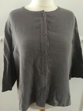 Poetry Sz 22 - Artisan Tunic Top - Grey Quality Cotton Button Down 3/4 Sleeve