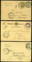 GERMANY BAVARIA POSTAL STATIONERY USED LOT OF 13 ITEMS AS SHOWN