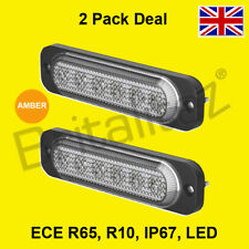 2 X Vehicle Warning Lights, AMBER Van, 6x3W LED, Strobe Lamp, Britalitez UK