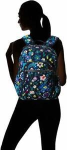 Vera Bradley Iconic Campus Backpack Signature Cotton MOONLIGHT GARDEN NWT $115