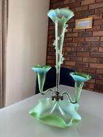 Genuine Antique, Victorian green & vaseline epergne
