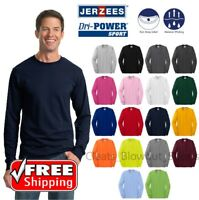 Jerzees Long Sleeve T-Shirt Dri-Power Active 50/50 Blend Color Blank Te Dry 29LS