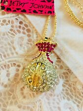 US SELLER Betsey Johnson Pink Money Bag Gold Chain Necklace