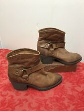 Lucky Brand Leather Bambi Tortoise Rider Harness Brown/Tan Boots Booties 9 M