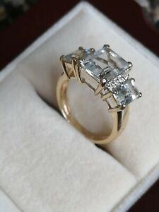 QVC Genuine Aquamarine and Diamond ring 9 ct yellow gold, size J 1/2