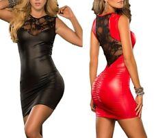 Señora sexy WETLOOK minivestido vestido de charol óptica-Optik punta de noche vestido de fiesta