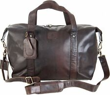 MENS QUALITY ROWALLAN LARGE BROWN LEATHER TRAVEL HOLDALL SHOULDER TOTE BAG 8889