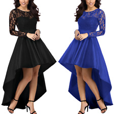 Women's Prom Dress With Long Sleeve Satin Lace Hi Low Skirt Evening Party Wear