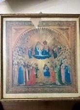 Antica stampa acquerellata Maria Assunta in Cielo, in cornice lignea