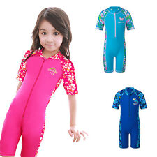 Kid Swimming Girls Swimsuit 4-10Y Boy One Piece Rash Guard Costumes Short Sleeve