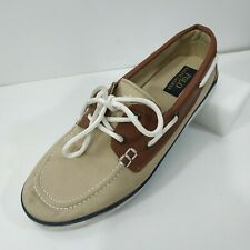 Ralph Lauren Moccasin Driving Loafers Brown Shoes Sz US 7 EU 40 Canvas & Leather