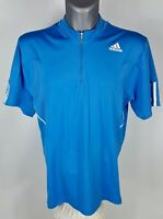 Adidas Men's Clima365 Formotion Athletic Shirt XL Blue Half Zip Short Sleeve Top