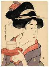 An Antique Bijin Okuki-e Japanese Woodblock Print By Kitagawa Utamaro