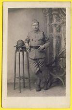 cpa Carte Photo MILITAIRE SOLDAT en Uniforme du 57e Régiment Grenade sur Casque