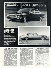 1988 Jaguar XJS XJ6 XJ-S VDP 2-page - Original Car Advertisement Print Ad J166