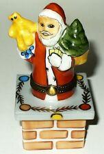 Limoges Box ~ Santa Claus In Brick Chimney ~ Christmas Tree & Toys ~ Peint Main
