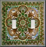 Light Switch Plate Cover - Italian Tile Pattern - Fiore - Brown Blue Green