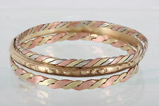 SET OF THREE BRASS & COPPER DIFFERENT STYLES BANGLE BRACELETS FASHION 8399
