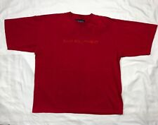 Vtg 90s Bum Equipment Mens Embroidered Red Tonal S/S T-Shirt Sz Large B6