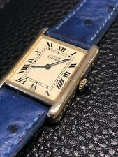 Authentic Must De Cartier Tank Argent Gold Plated Manual Wrist Watch