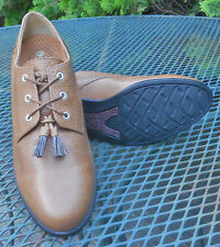 ARIAT CLASSIC LEATHER 3 EYE OXFORD SHOES Tassels Lace Up Flats Womens 8.5