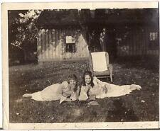 Lovely Young Girls Tweens Teens In Edwardian Fashion Reclining Vtg 1910s Photo