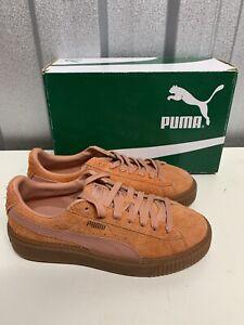 PUMA Women's UK Size 5.5 Suede Platform Elemental Lace Up Steel Orange Trainers