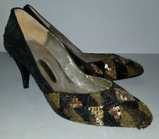Impo black gold sequined beaded vintage 70s heels pumps. 8.5 Aa narrow N