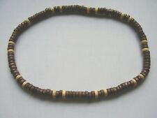 Dark & light brown wood bead stretch surf choker necklace