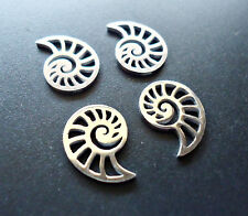 Small Stainless Steel Laser Cut Charms - Spiral Sea Shell - Set of 5
