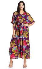 Summer Maxi Gown Cotton Kaftans Violet Floral Print Caftan Dress Beach Cover Up