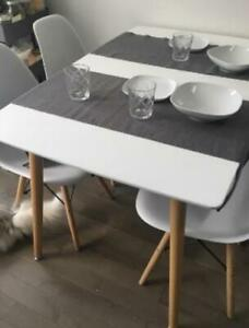 """47"""" Mid-Century Modern Rectangle Kitchen or Dining Room Table, White"""