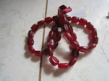 NEW WITH TAGS SET OF THREE CRANBERRY COLOR BEADED STRETCH BRACELETS FROM MACY'S