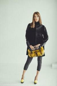 Fur Clutch Bag Real Fur Handbag Bags Fur Tote Bag Womens Purse Clothing (Yellow)
