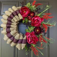 Wreath with Red flowers, Burlap,  Unique, Handmade, Wreath !-Felicia