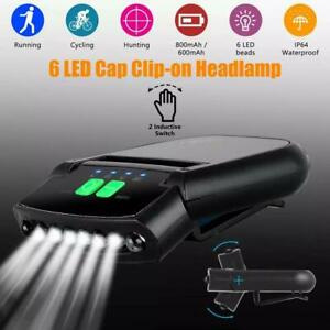 Rechargeable USB LED Headlamp Clip on Cap Hat Light Head Torch Fishing Camp Lamp