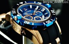 Invicta Men's JT Pro Diver Chrono 18K Rose Gold Blue Dial Watch 3 Slot JT Case