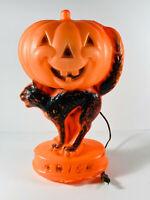 Vintage Halloween Black Cat Pumpkin Jack-O-Lantern Blow Mold Light