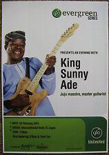 KING SUNNY ADE 2014 Gig POSTER Lagos Nigeria Concert