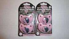 Lot of 4 Pink Mossy Oak Orthodontic Camo/Camouflage Pacifiers 0-6 Months 2-2 Pks