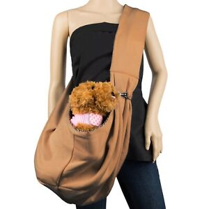 Brown Outdoor Nylon Sling Carrier Tote Travel Crossbody Bag For Small Pet Dog