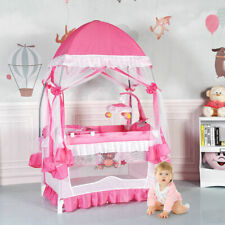 Baby Crib Bassinet Nursery Furniture Infant Portable Bed Newborn Pink Playpen